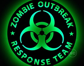 Lighted US ZORT Sign - Zombie Outbreak Response Team Logo LED Sign - Lighted Biohazard Decal