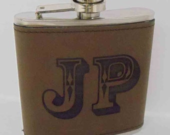 Personalized Engraved Leather Wrapped Flask