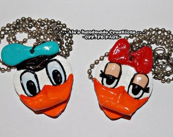 Necklace in Fimo ' Donald and Daisy duck '