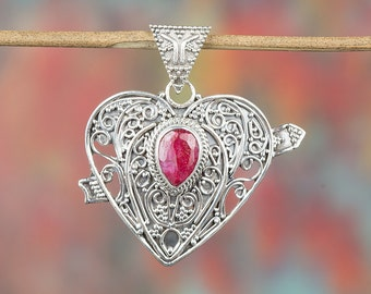 Ruby Pendant, Sterling Silver Pendant, Beautiful Heart Shape Pendant, Red Stone Pendant, July Birthstone, Artisan Jewelry, BJP-936-RU