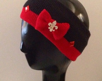 French inspired Red & black decorated/bedazzled ear warmer ski band