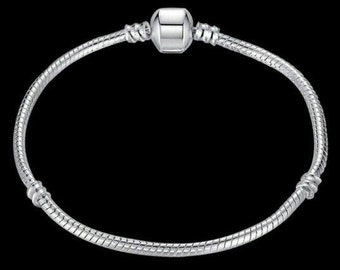 "Basic ""ÔCharms"" bracelet in 925 sterling silver compatible brand 50% engraved charms"