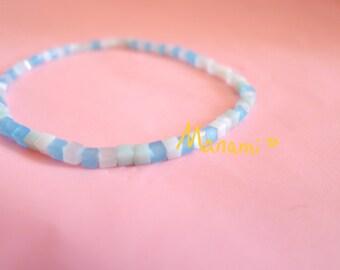 easy to wear friendship bracelet ocean blue bracelet BFF polygon bead