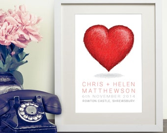 Personalised Wedding Heart Print Gift Bespoke Unique Present Celebration Congratulations Marriage Anniversary