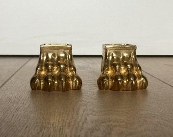 Pieds de meuble en cuivre, en forme de patte de félin