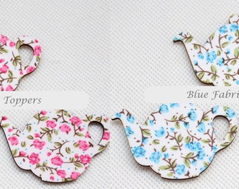 80 Fabric Topped Wood Teapots | Wooden cut outs Blue or Pink Floral | 55mm - 2.2""