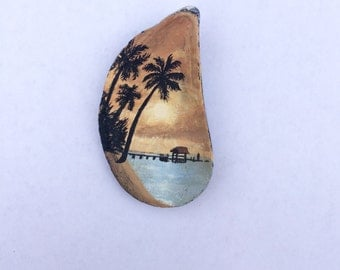 Acrylic Painting on Mussel Shell
