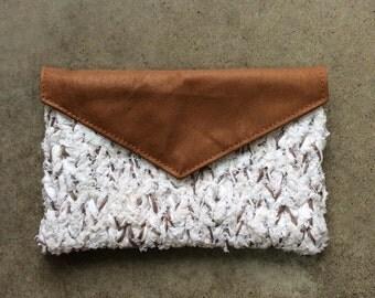 Brown Flecked Knit Clutch