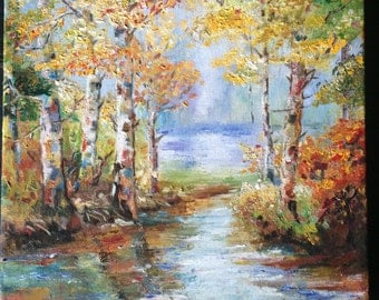 Abstract oil painting, Painted oil on canvas, reflections of autumn, impressionism, Landscape