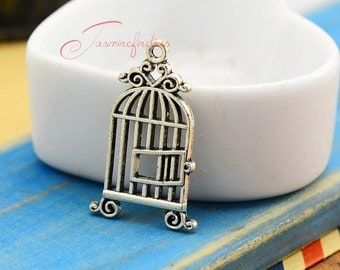 10PCS--34x18mm Birdcage charms, Antique Silver Vintage Birds Cages Birdcage Charms Pendants, DIY Findings, Jewelry Making JAS3339