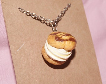 Polymer Clay Cream Puff Charm Necklace