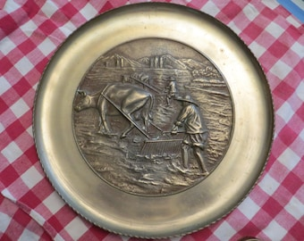 Vintage solid brass wall plaque wall art 3 pounder