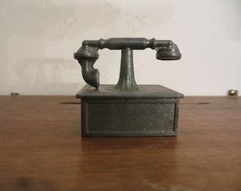 Vintage Miniature Pewter Telephone Dollhouse w/ free ship