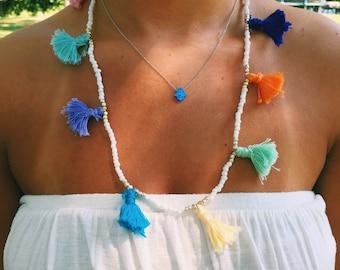 White Medium Multi Tassel Necklace