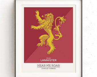 House Lanniser poster. Inspired art Game of thrones. Lannister banner. Hear me roar. Cersei Tyrion banner. House warming gift. Lion banner