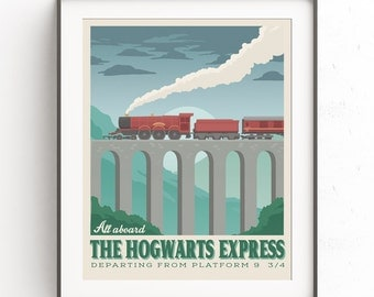 Hogwarts Express. Platform 9 3/4. Harry potter poster. KingCross Station. Train poster. Vintage railway. Retro travel poster. Hogsmeade