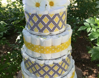 Four Tier, Yellow and Grey Butterfly Garden Diaper Cake