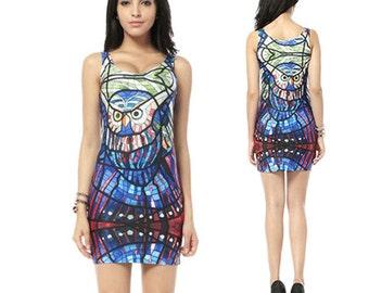 Glass Owl Dress. Glass Owl Tank Dress. Blue. White.