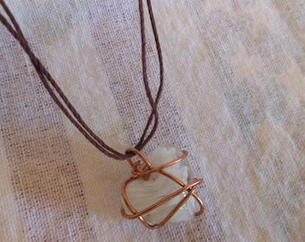 Necklace white  heart shaped gem stone