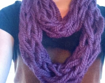purple arm knitted infinity scarf