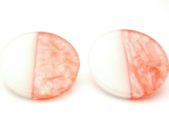 Blush Pink and White Two Half of a Circle Large Stud Earrings Vintage from the 90s