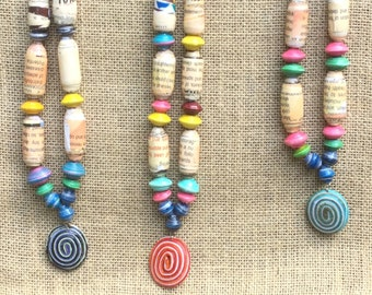 Handmade, Colorful, Beaded Necklace w  Medallion (Mostly beige beads w text)