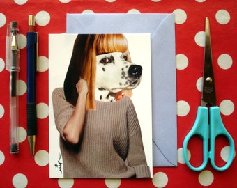 Card mailing collage 'Woman' dog