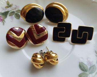 Fabulous Vintage Jewelry-Large Stud Earrings-Retro 1980's Chic Classics for Pierced Ears-Black and Gold, Gold Knots, Chevron, & Black