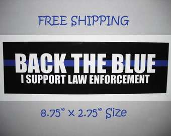 Blue Lives Matter Sticker - Back the Blue - Thin Blue Line - Law Enforcement - Decal Bumper Window Laptop - Police