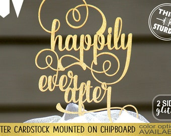 happily ever after cake topper, wedding cake topper, Gold Glitter party decorations, cake topper, cursive topper