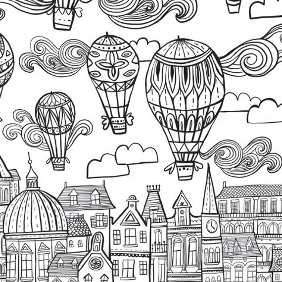 Giant coloring poster wallpaper home decor to color for Giant coloring pages for adults