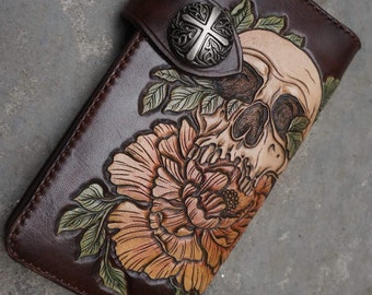 Long leather wallet, leather handmade wallet, leather carving, biker's wallet