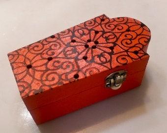 Orange Coffin Box \\ Ornate Black Design \\ Rhinestones \\ Halloween Decor \\ Keepsake and Jewelry Box