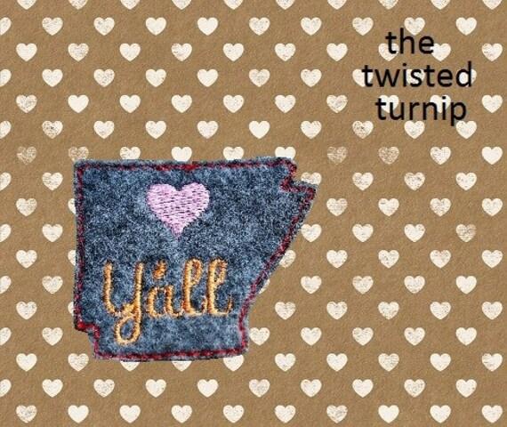 Cute North Central Arkanas Love Yall Feltie Felt Embroidery Design Instant Download 4x4 Hoop