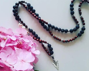 Long Volcanic Lava Gemstone Necklace with Skull