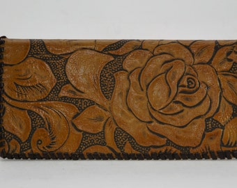 Handmade Embossed Gold Floral Leather Wallet