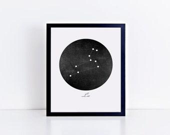 Framed • Leo Vintage Black Constellation Art Print • Sizes 8x10 - 24x36