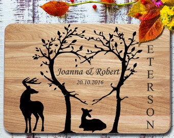 family cutting board deer personalized cutting board tree wedding gift cutting board engraved cutting board wedding for couple cutting board