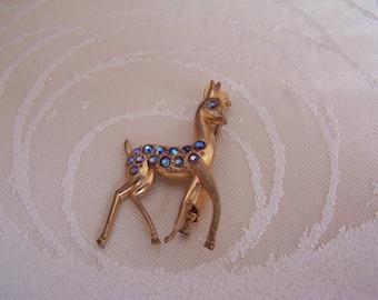 Cute Vintage Bambi Deer Brooch Sparkly Stones Gold Coloured
