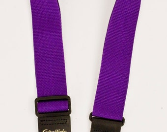 Guitar Strap PURPLE NYLON Solid Leather Ends Adjustable Length Fits All Acoustic Electric And Bass And Mandolins Made In USA Since 1978