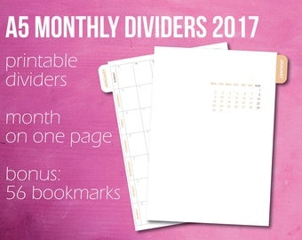 Monthly Dividers, 2017 Calendar, Month On One Page, A5 Planner, Planner Dividers,  Bookmark