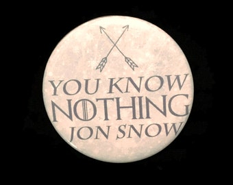 Button Game of Thrones You Know Nothing Jon Snow Ygritte Kit Harrington Ice Fire