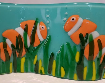 Fused glass art picture. Nemo, Clown fish.Fused Glass, handmade. made in UK, Kiln formed glass, Nemo Free standing Wave