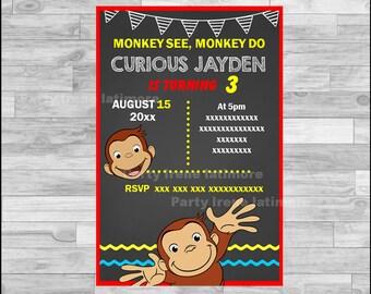 Curious George Invitation, Curious George Chalkboard Invitation, Curious George Party Invitation