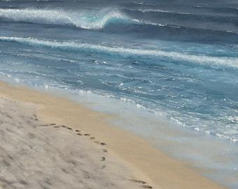 Beach art, beach cottage decor, surf art, surf painting, seascape, coastal, realism, Wave paintings, Vilano Dreaming