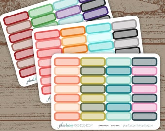 Quarter Box Planner Stickers,  BASICS, Erin Condren, Happy Planner, Blank Labels, Blank Boxes, Rounded Rectangles, 1/4 boxes