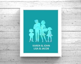 Custom Family Art - Watercolor Family Silhouette / Family Name Art, Customized Family Art, Family Art Print, Digital Family Art