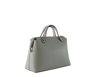 Grey calfskin leather structured tote with shoulder strap