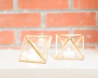 2 Geometric Glass Candle holder - Wedding Candle Holders - Wedding - Home Decor - Mini Octahedron - Geometric Terrarium - Christmas Gift
