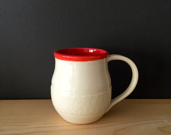 Handmade ceramic mug- red and white
